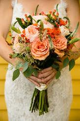 Bride holding flowers at Blenheim Hill Farm in Jefferson New York