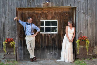 Bride and groom flirting in the Catskills