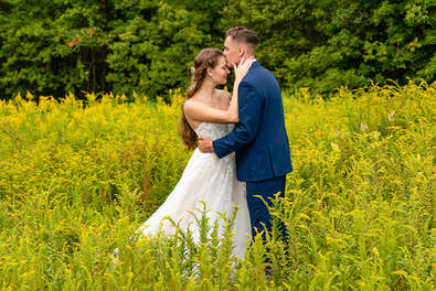 Bride and groom in Cooperstown New York in The Catskills