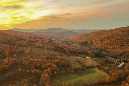 Aerial view of valley at sunrise in the Catskills