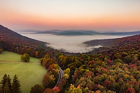 Aerial view of a valley in autum in the Catskills