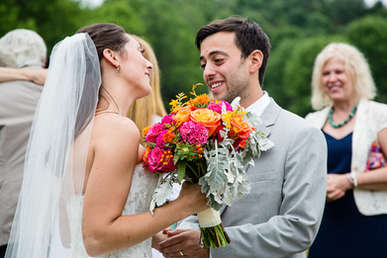 Candid wedding portrait of bride and groom at The  Roxbury Barn and Estates in The Catskills