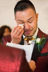 Groom crying during wedding ceremony at same sex wedding in Roxbury New York