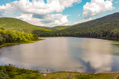 Airel view of Tunis Lake in The Catskills