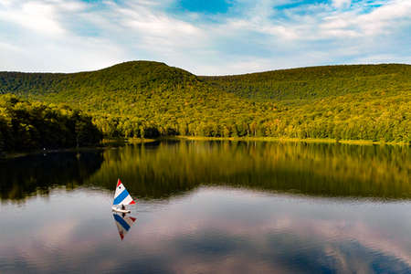 Sailboat at Little Pond in Andes New York