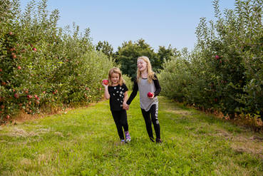 Girls running in an apple orchard in The Catskill Mountains