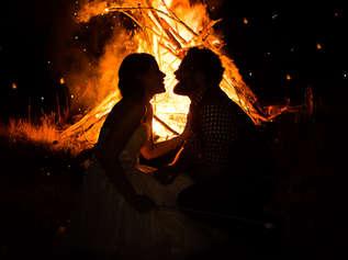 Bride and Groom at Bonfire at The Roxbury Barn