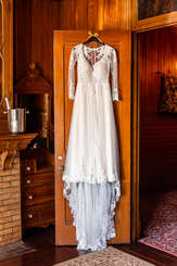 Wedding Dress hanging at Spillian in Fleichmans New York