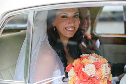 Bride and her dad in a limo before the wedding