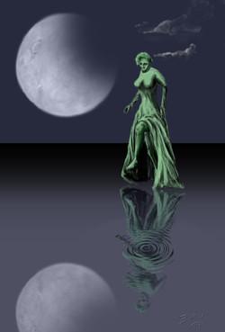 Grüne Tänzerin unter dem Mond
