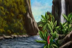 Wasserfall und Kolibri