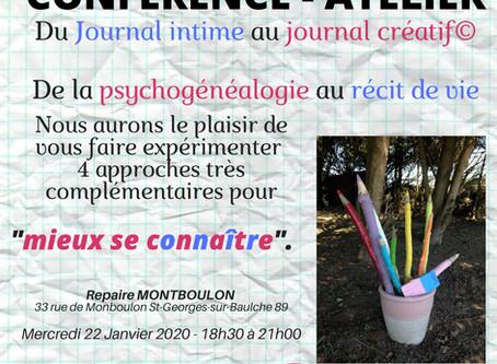 """Conférence atelier """"du journal intime au journal créatif - de la psychogénéalogie au récit de vie"""""""