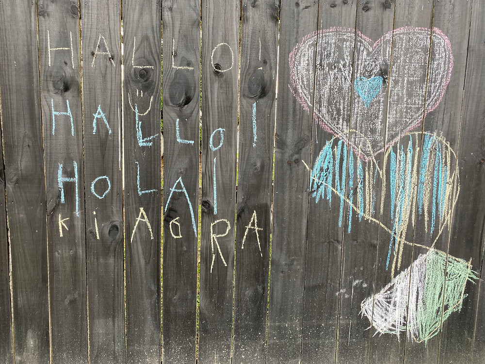 Chalk drawings on fence