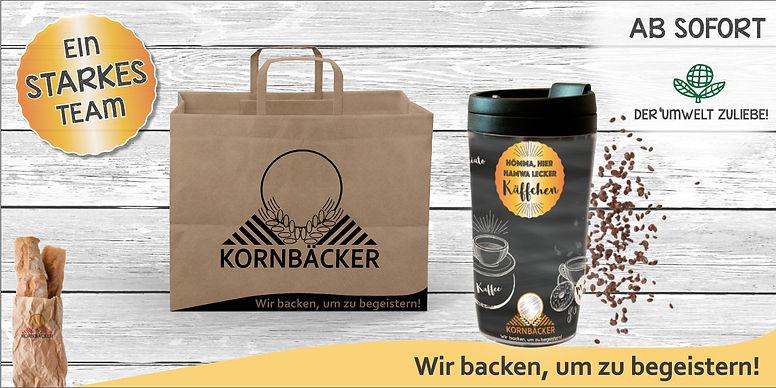 Kornbäcker -Papiertasche und Mehrwegbech