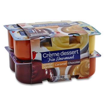 12 x Crèmes desserts au Chocolat, à la Vanille,