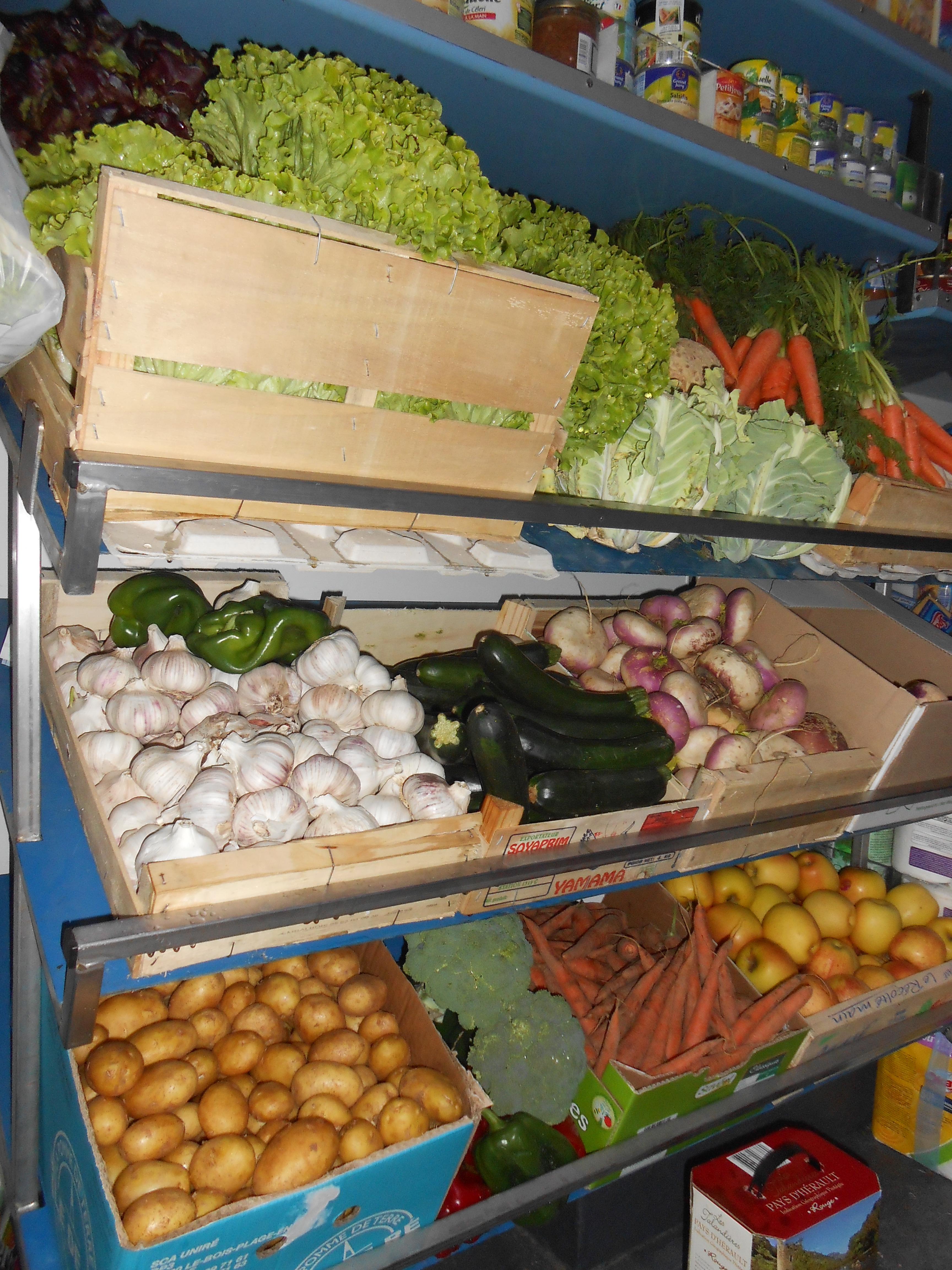 Rayons arrière des fruits et légumes