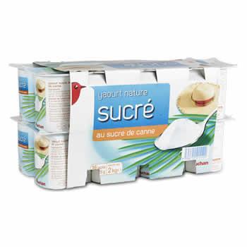 AUCHAN Yaourts natures au sucre de Canne