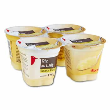 AUCHAN Riz au lait à la Vanille