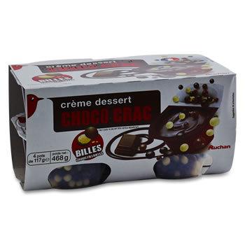 Crèmes desserts au Chocolat avec billes croustilla