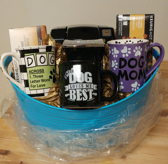 """""""I❤Coffee"""" Basket--featuring single cup Keurig machine, 2 doggie-themed coffee mugs and box of Keurig pods."""