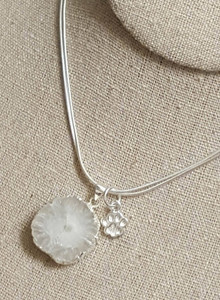 """Solar Quartz pendant with paw charm on a 36"""" 925 sterling silver chain - Donated by Baubles by BELLAVIE"""