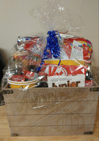 """""""Love Me Some Netflix""""  Basket--featuring a $60 Netflix card, large popcorn tub, 2 popcorn cups and an assortment of movie related snacks and goodies."""