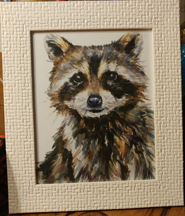 8x10 Watercolor Raccoon print by Edmonton Artist, Gloria Ho