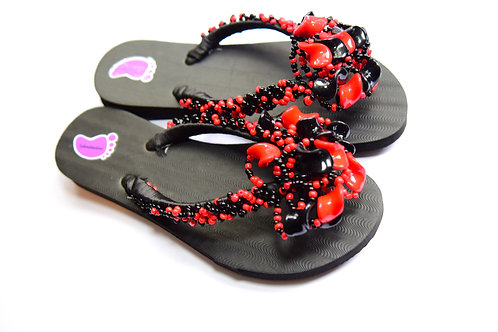 Red And Black Beads Flip Flop
