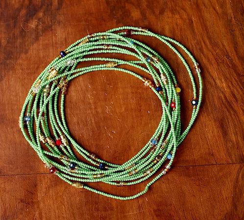 African Handmade Anklet (Green Beads)