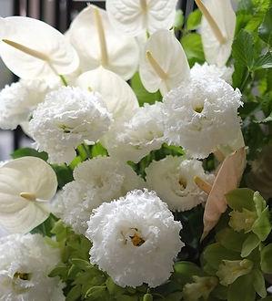 夏でも_長もちするお花の_フラワーアレンジメント__アンセリューム、フリフリの透