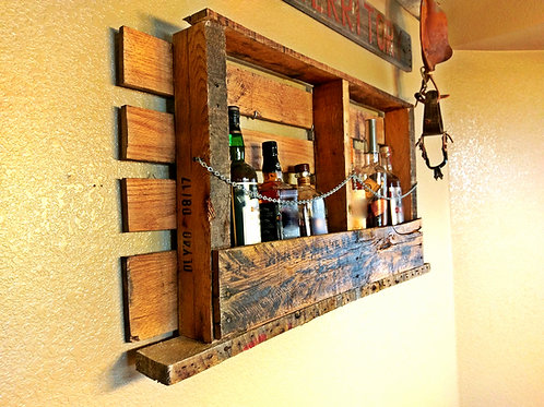 Rustic Whiskey Wall Storage