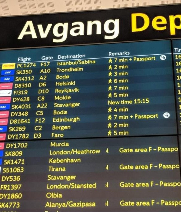 Oslo airport departure boards now have all the information about the path to the gate.