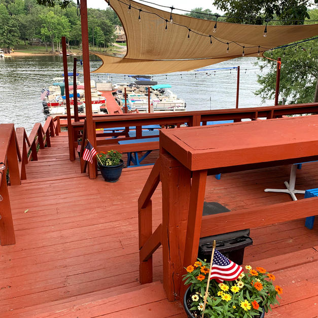 Our deck with boat dock