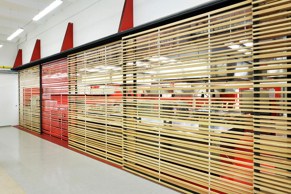 studio db ai School kitchen architecture wooden brise soleil design