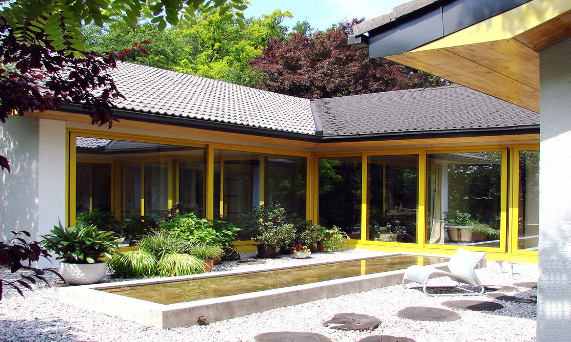 studio db ai luxury house atrium garden pool design