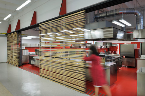 studio db ai School kitchen architecture wooden sliding brise soleil design