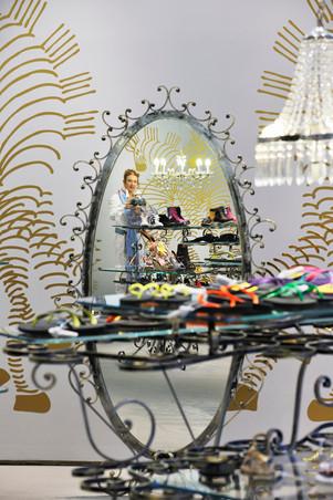 studio db ai art deco fashion boutique standing oval mirror design
