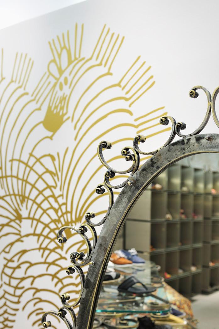 studio db ai art deco nouveau fashion boutique  iron wrought mirror frame