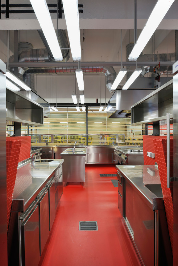 studio db ai School kitchen architecture public kitchen design red mosaic