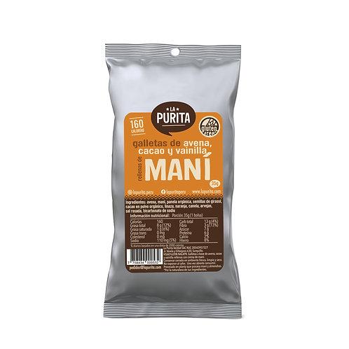 GN MAMX - Galletas de avena, vainilla y cacao rellenas de mani 35 grs x 6
