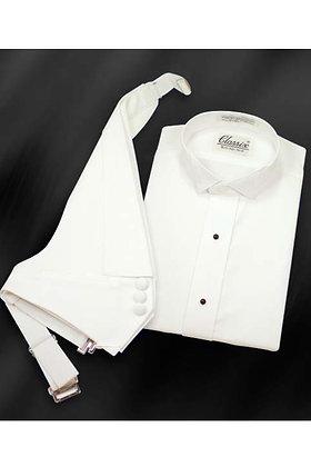 White Pique Tuxedo Shirt w/ Winged Collar (Mens)