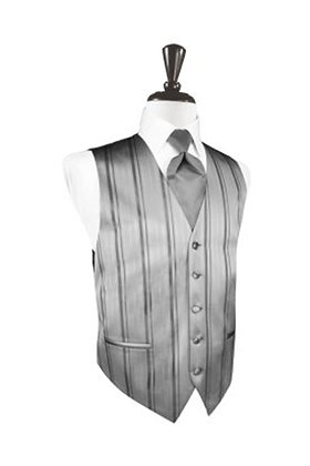 Striped Satin Silver Vest