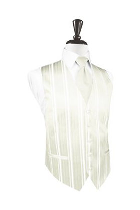 Striped Satin Ivory Vest