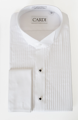 """""""David"""" French Cuffs White Pleated Wingtip"""