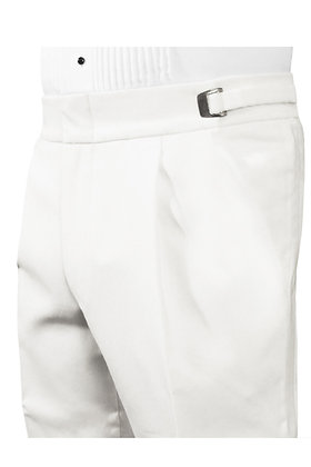 White Pleated Trouser with Satin Stripe