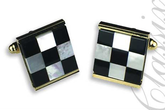 Black Onyx & Mother of Pearl Sqaure Design