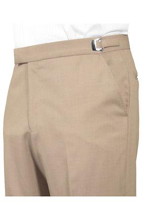Tan Non-Pleated Trouser No Satin