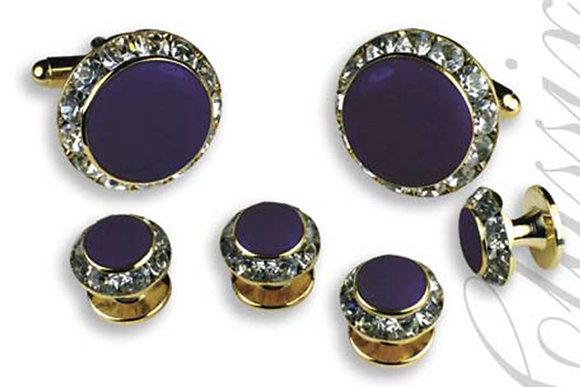 Purple Enamel Center Round Austrian Crystal