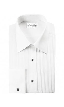 """""""Angelo"""" French Cuffs White Pleated Laydown"""