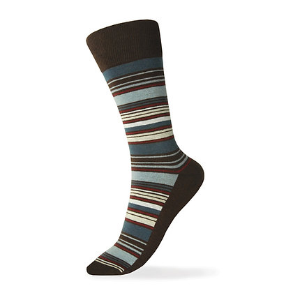 Brown, Silver, Charcoal, Apple Red,  Champagne Striped Sock